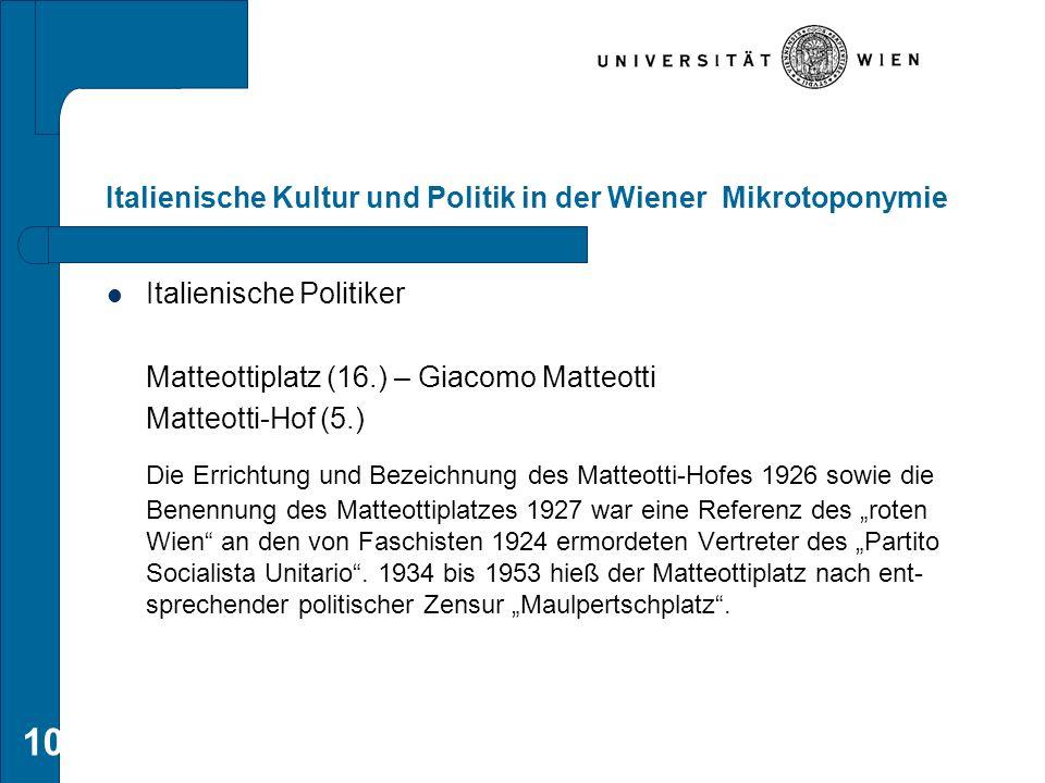 Italienische Kultur und Politik in der Wiener Mikrotoponymie