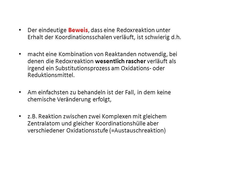 Der eindeutige Beweis, dass eine Redoxreaktion unter Erhalt der Koordinationsschalen verläuft, ist schwierig d.h.