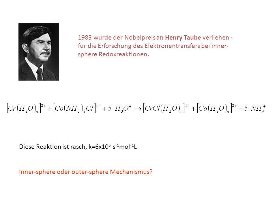 1983 wurde der Nobelpreis an Henry Taube verliehen - für die Erforschung des Elektronentransfers bei inner-sphere Redoxreaktionen.
