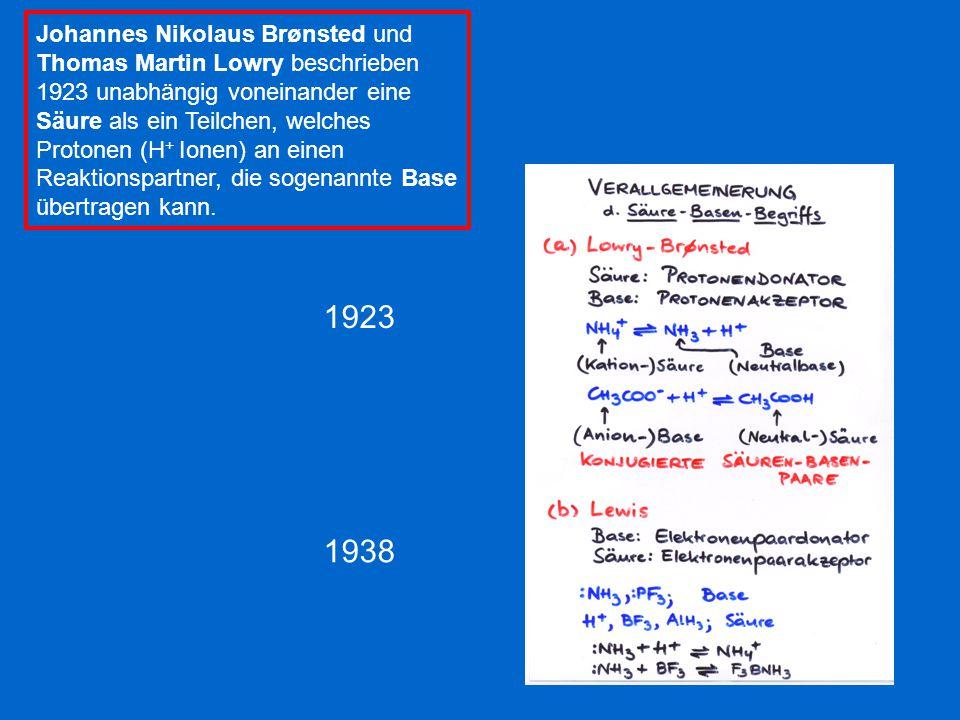 Johannes Nikolaus Brønsted und Thomas Martin Lowry beschrieben 1923 unabhängig voneinander eine Säure als ein Teilchen, welches Protonen (H+ Ionen) an einen Reaktionspartner, die sogenannte Base übertragen kann.