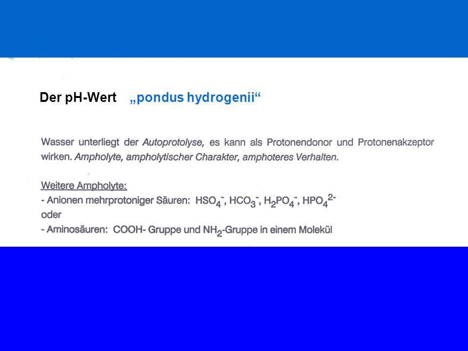 """Der pH-Wert """"pondus hydrogenii"""