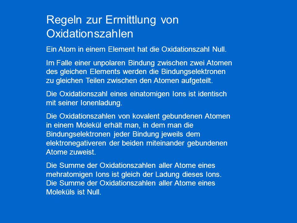 Regeln zur Ermittlung von Oxidationszahlen