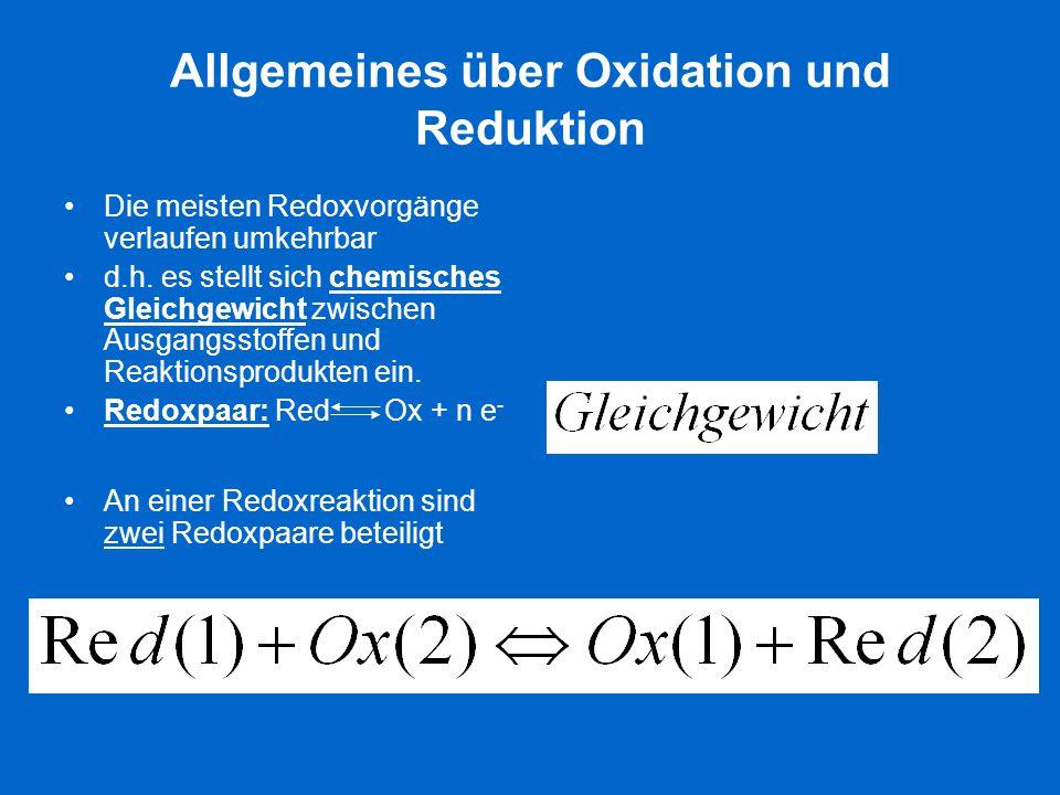 Allgemeines über Oxidation und Reduktion