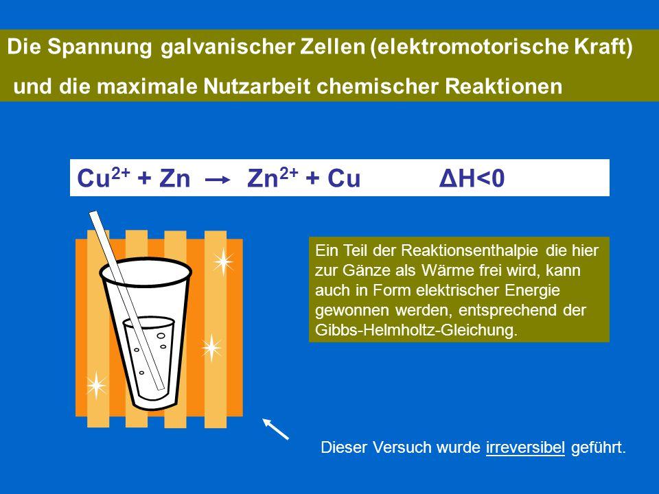 Die Spannung galvanischer Zellen (elektromotorische Kraft)