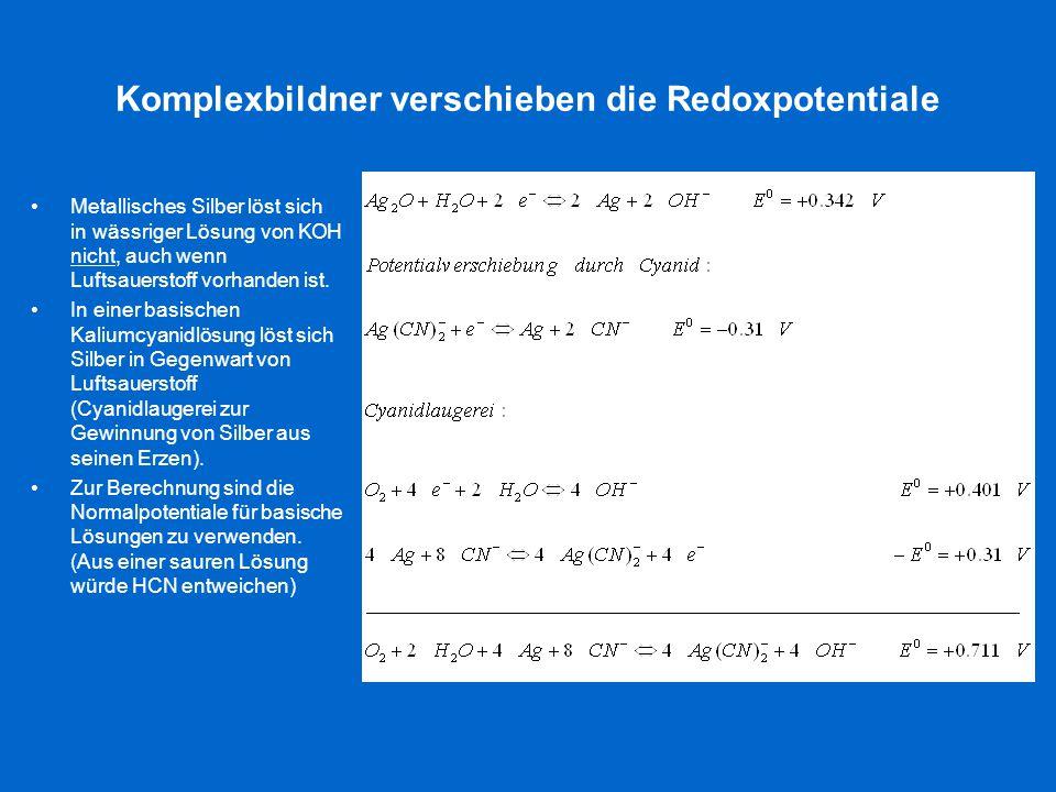Komplexbildner verschieben die Redoxpotentiale