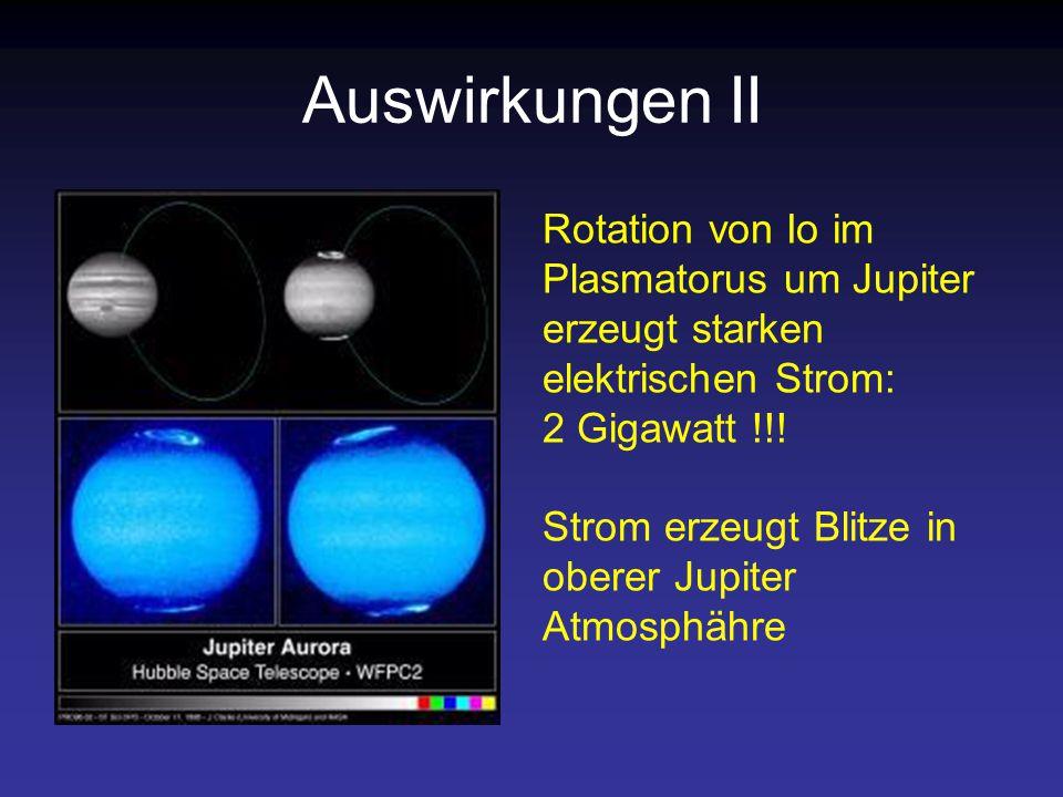 Auswirkungen II Rotation von Io im Plasmatorus um Jupiter erzeugt starken elektrischen Strom: 2 Gigawatt !!!
