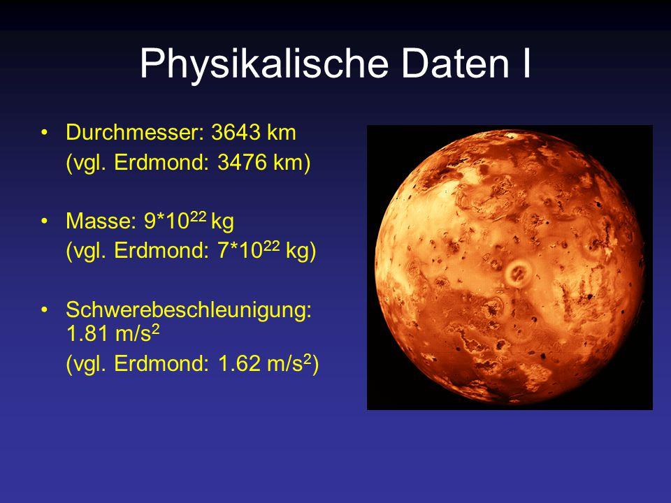 Physikalische Daten I Durchmesser: 3643 km (vgl. Erdmond: 3476 km)