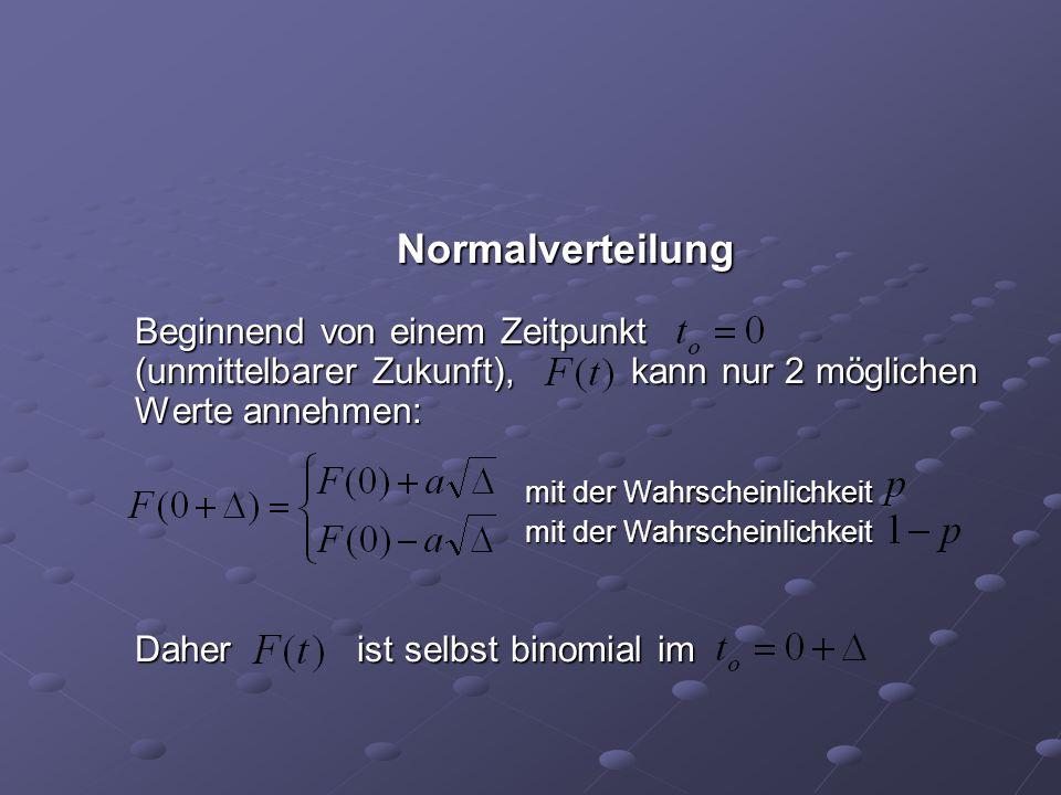 Normalverteilung Beginnend von einem Zeitpunkt (unmittelbarer Zukunft), kann nur 2 möglichen Werte annehmen: