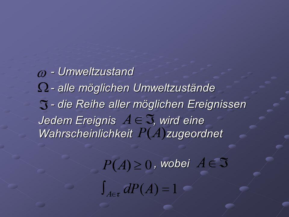 - Umweltzustand - alle möglichen Umweltzustände. - die Reihe aller möglichen Ereignissen.