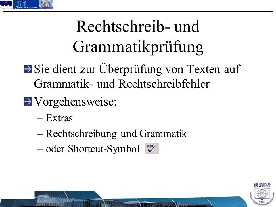 Rechtschreib- und Grammatikprüfung