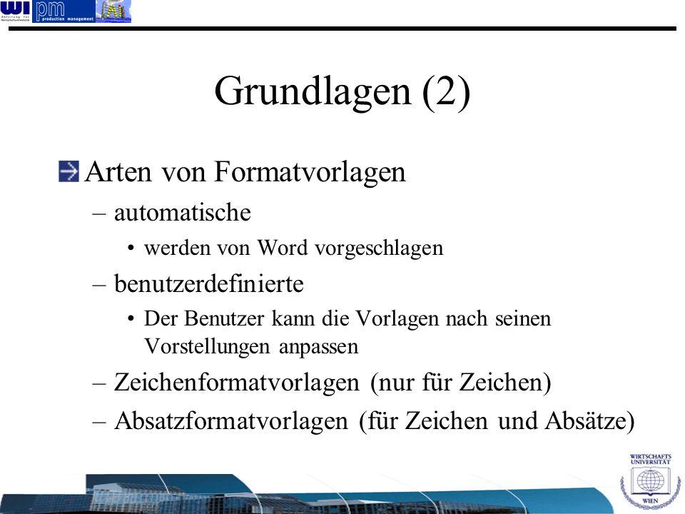 Grundlagen (2) Arten von Formatvorlagen automatische