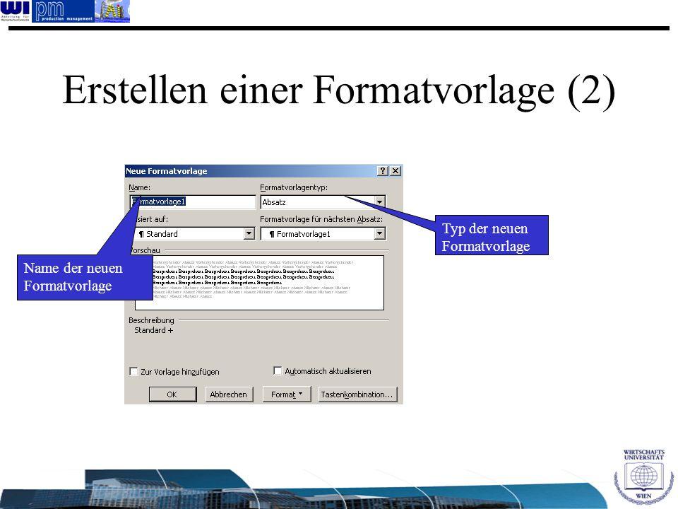 Erstellen einer Formatvorlage (2)