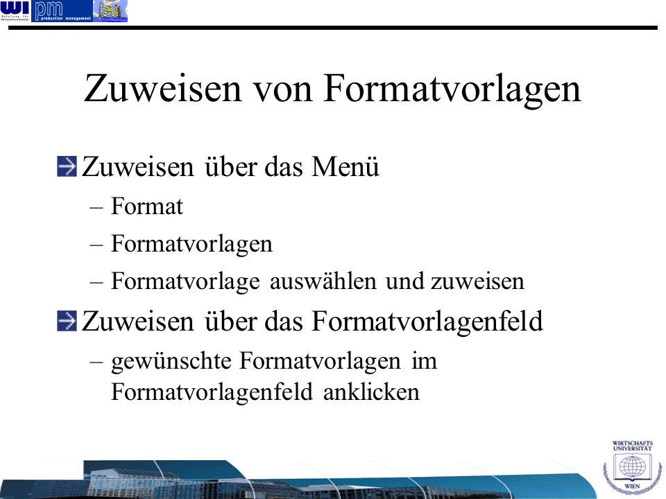 Zuweisen von Formatvorlagen