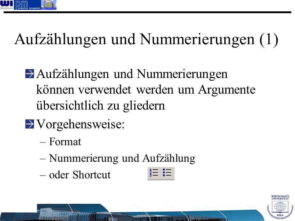 Aufzählungen und Nummerierungen (1)