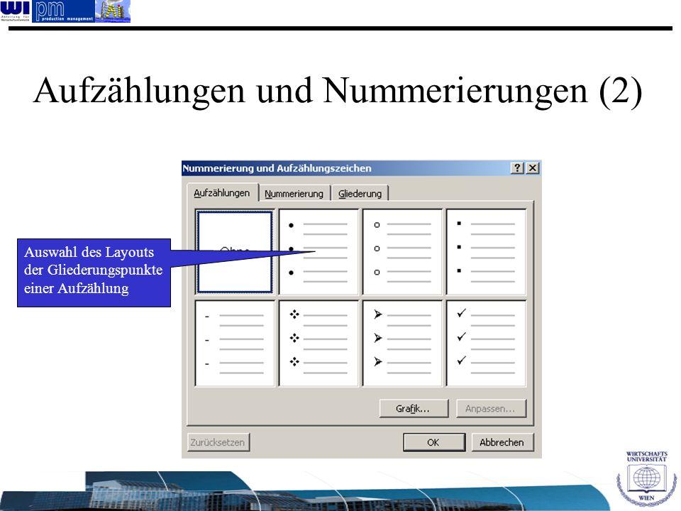 Aufzählungen und Nummerierungen (2)