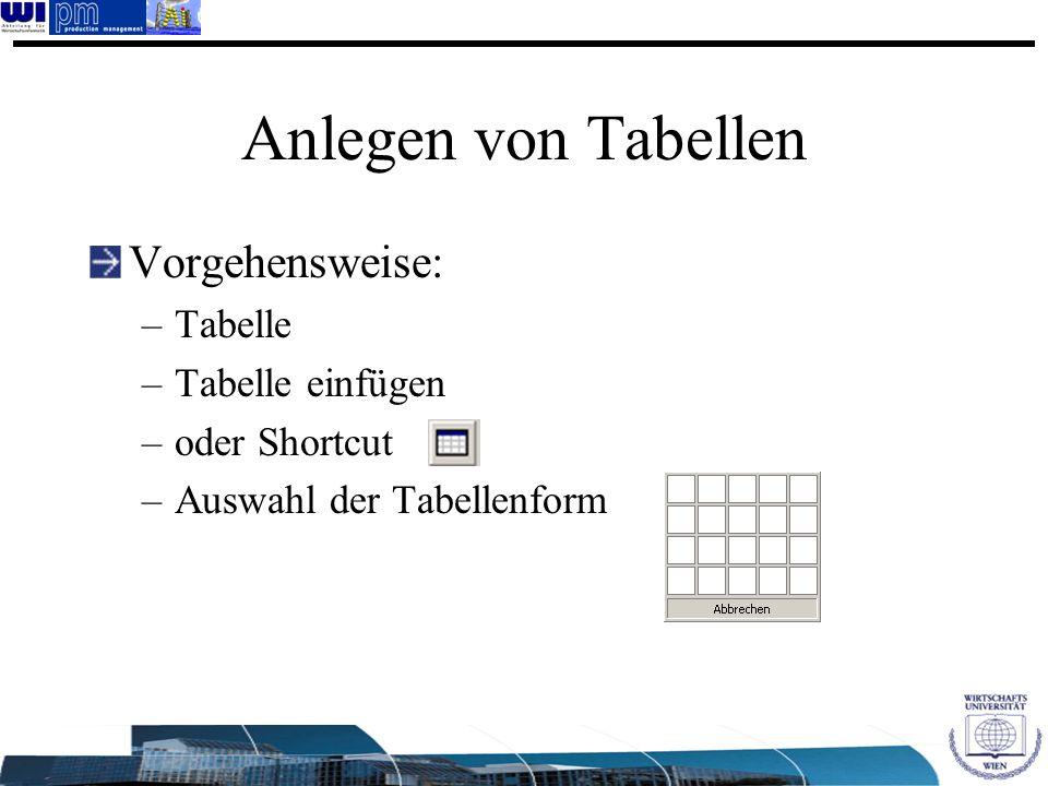 Anlegen von Tabellen Vorgehensweise: Tabelle Tabelle einfügen