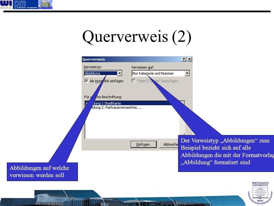 """Querverweis (2) Der Verweistyp """"Abbildungen zum Beispiel bezieht sich auf alle Abbildungen die mit der Formatvorlage """"Abbildung formatiert sind."""