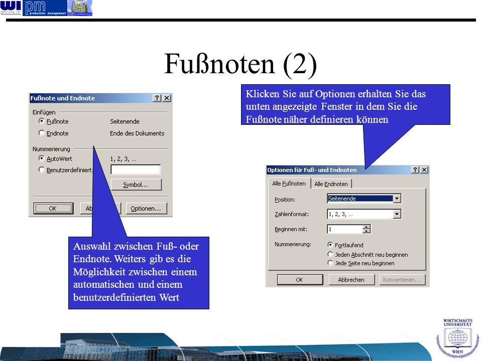 Fußnoten (2) Klicken Sie auf Optionen erhalten Sie das unten angezeigte Fenster in dem Sie die Fußnote näher definieren können.