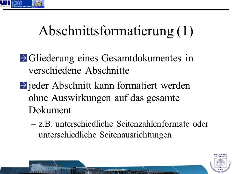 Abschnittsformatierung (1)