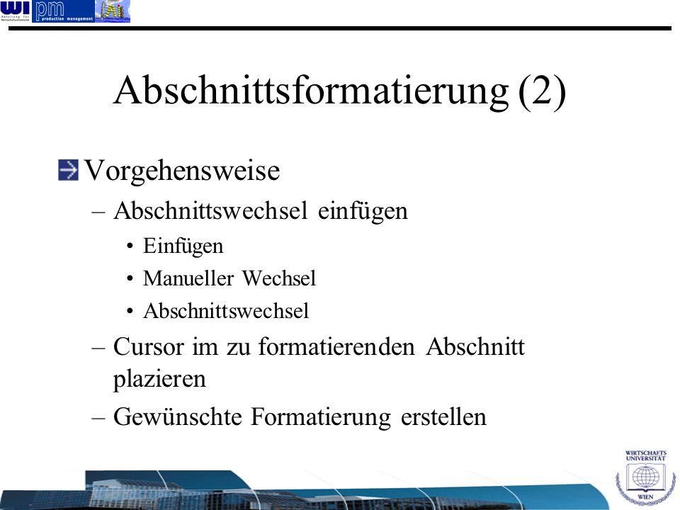 Abschnittsformatierung (2)