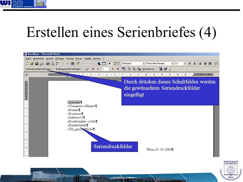 Erstellen eines Serienbriefes (4)