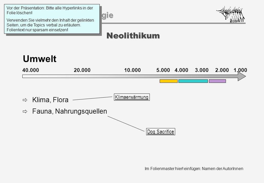 Umwelt Neolithikum Klima, Flora Fauna, Nahrungsquellen 40.000 20.000