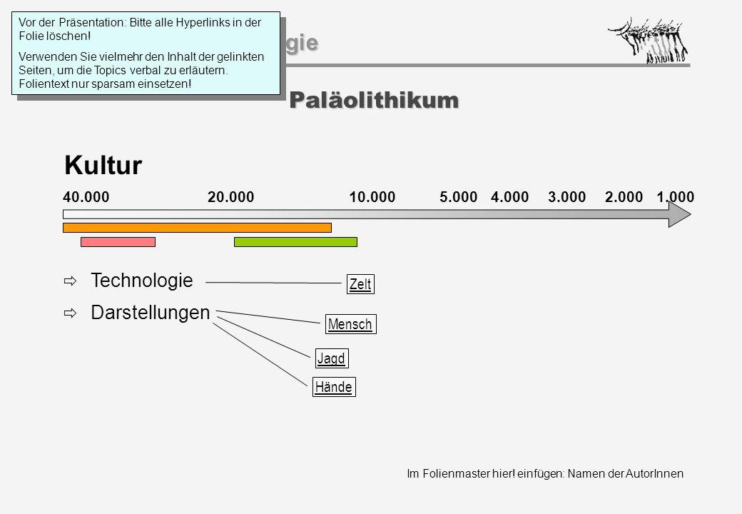 Kultur Paläolithikum Technologie Darstellungen 40.000 20.000 1.000