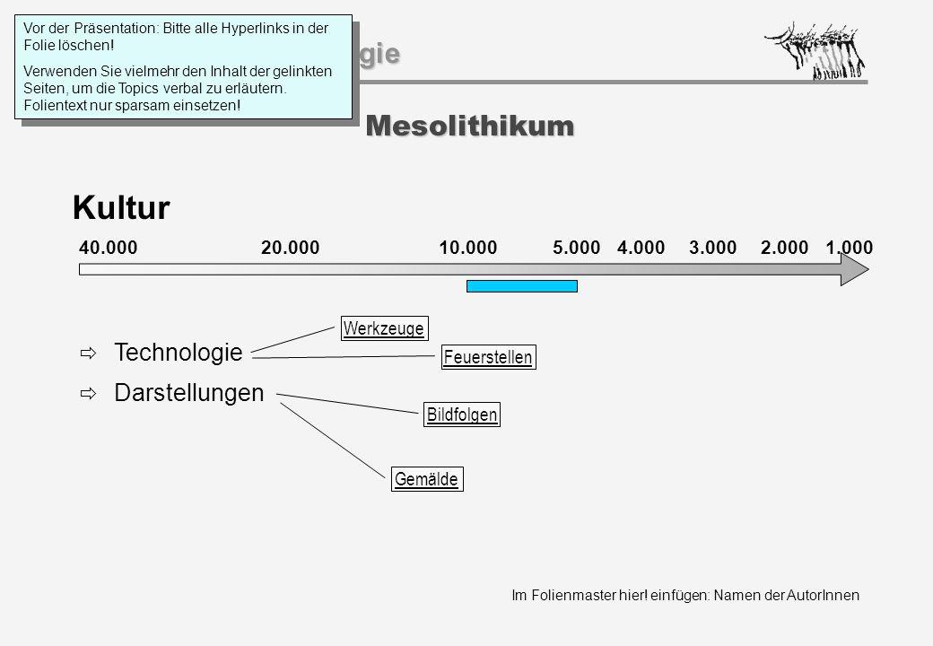 Kultur Mesolithikum Technologie Darstellungen 40.000 20.000 1.000