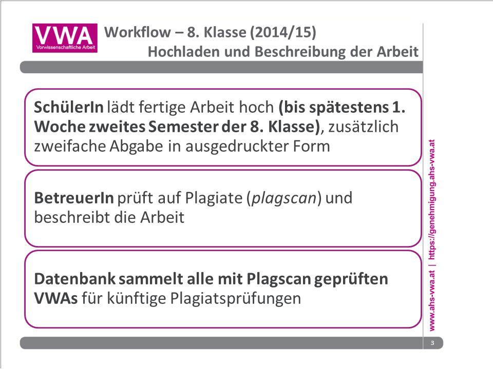 BetreuerIn prüft auf Plagiate (plagscan) und beschreibt die Arbeit