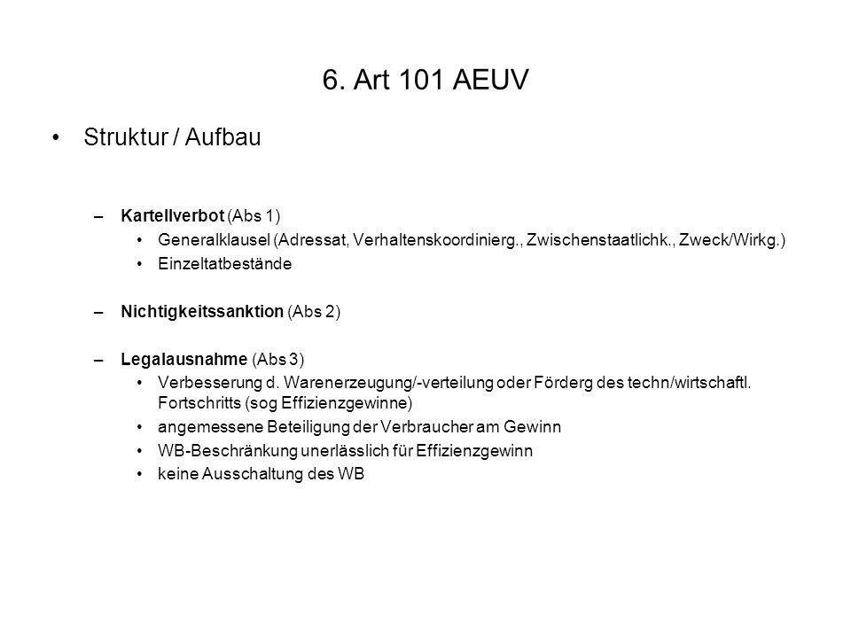 6. Art 101 AEUV Struktur / Aufbau Kartellverbot (Abs 1)