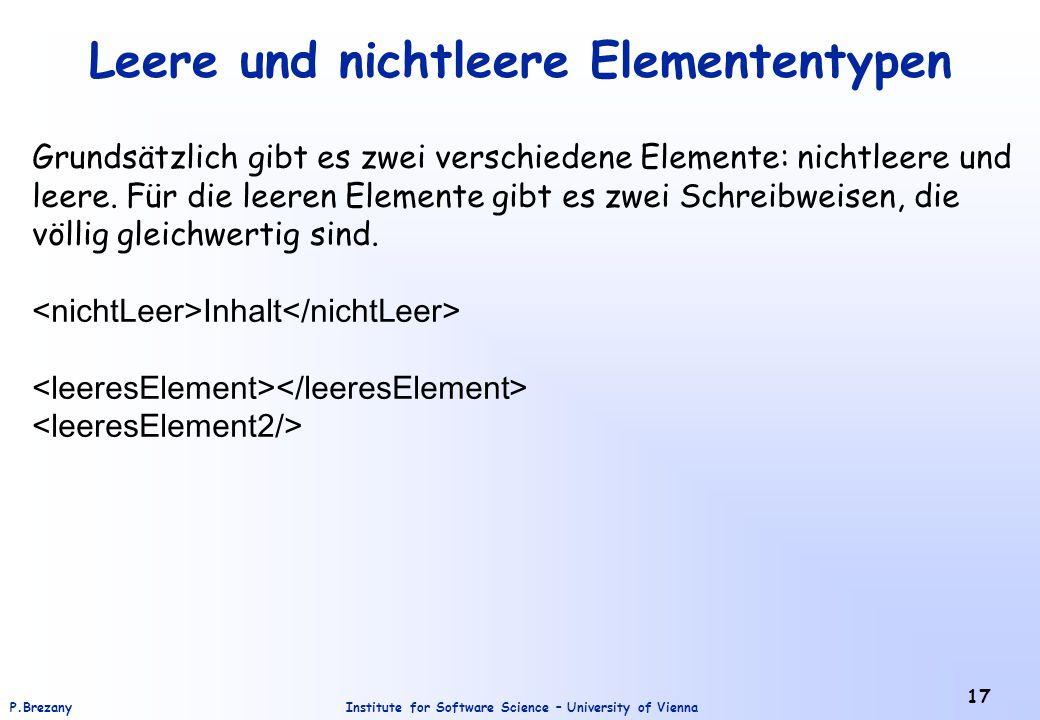 Leere und nichtleere Elemententypen