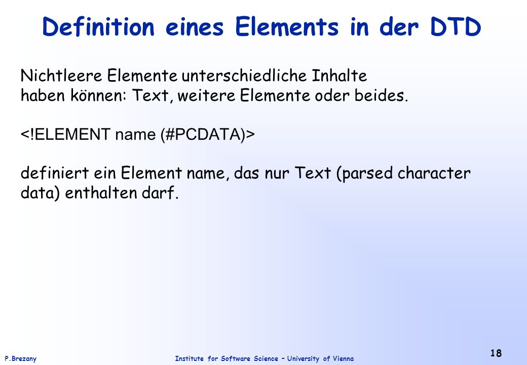 Definition eines Elements in der DTD