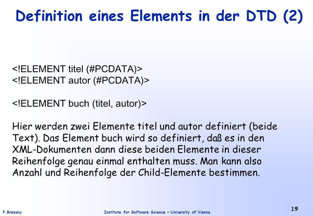 Definition eines Elements in der DTD (2)