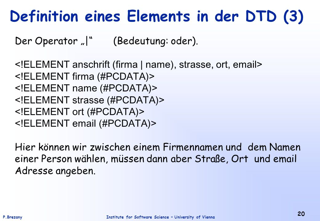 Definition eines Elements in der DTD (3)