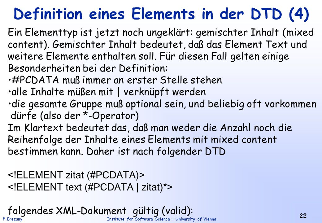 Definition eines Elements in der DTD (4)