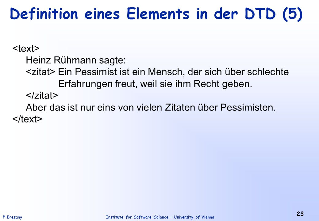 Definition eines Elements in der DTD (5)