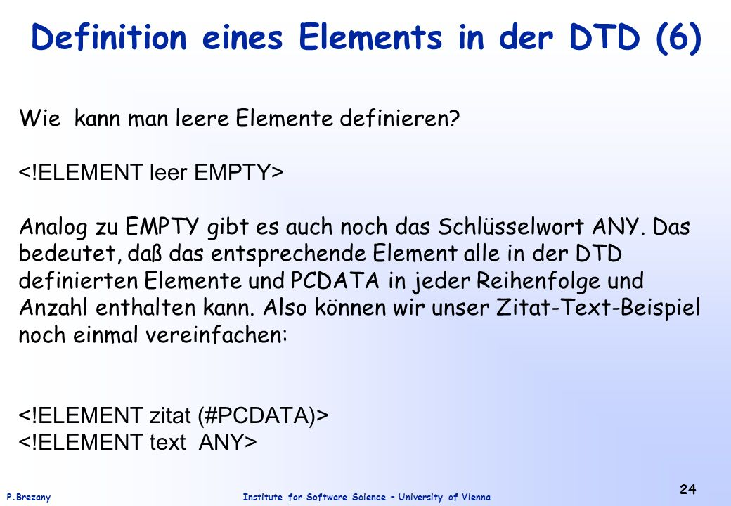 Definition eines Elements in der DTD (6)