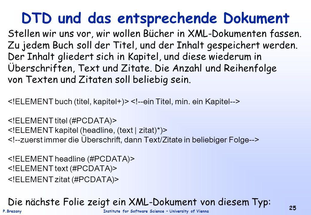 DTD und das entsprechende Dokument