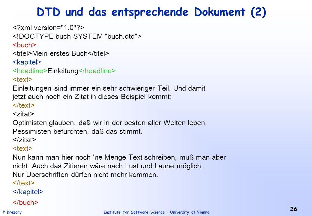 DTD und das entsprechende Dokument (2)