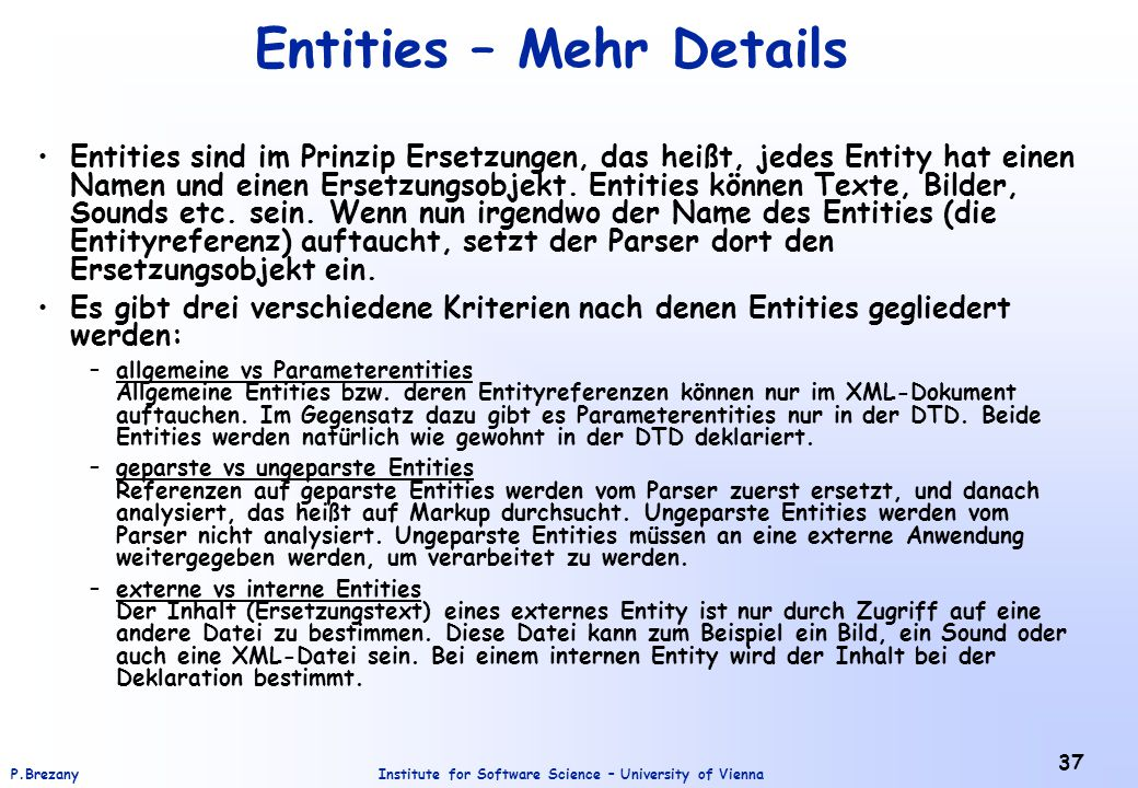 Entities – Mehr Details