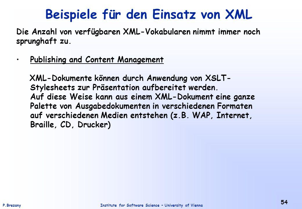 Beispiele für den Einsatz von XML