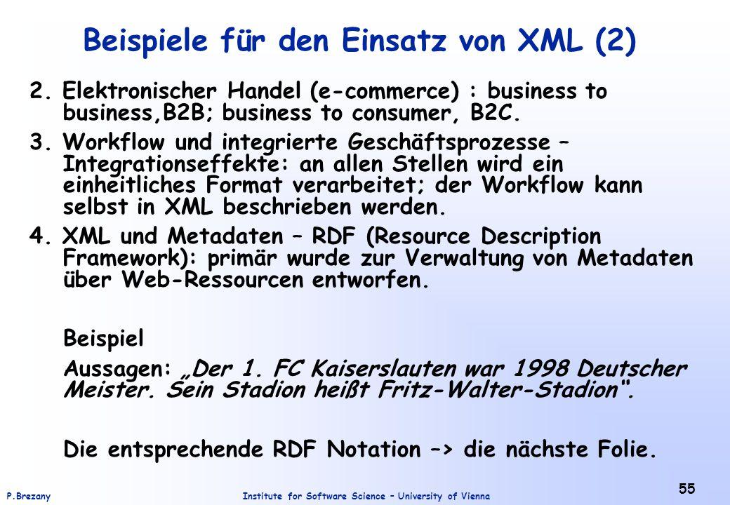 Beispiele für den Einsatz von XML (2)