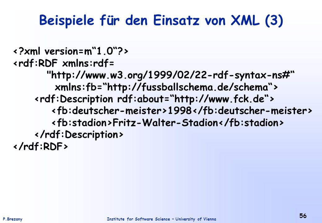 Beispiele für den Einsatz von XML (3)