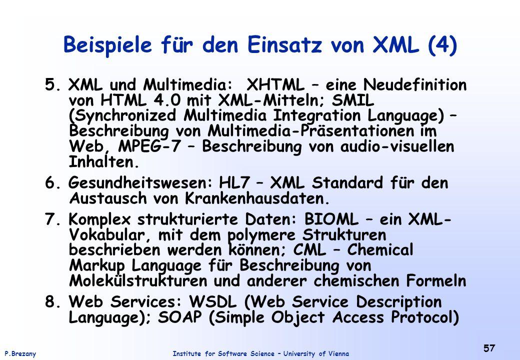 Beispiele für den Einsatz von XML (4)