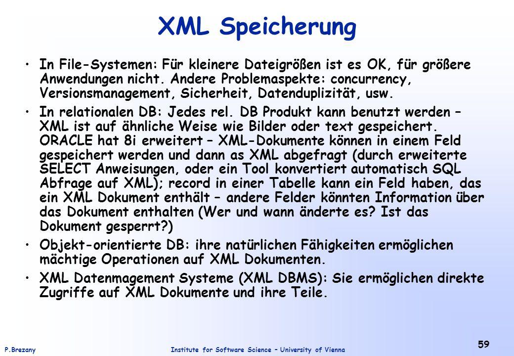 XML Speicherung