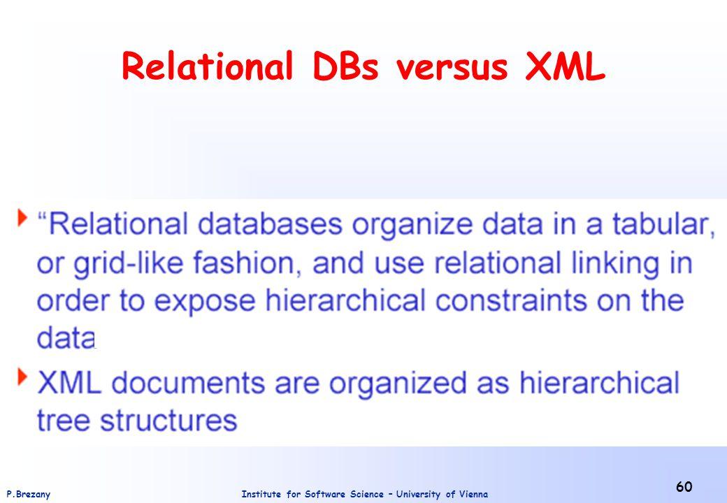 Relational DBs versus XML