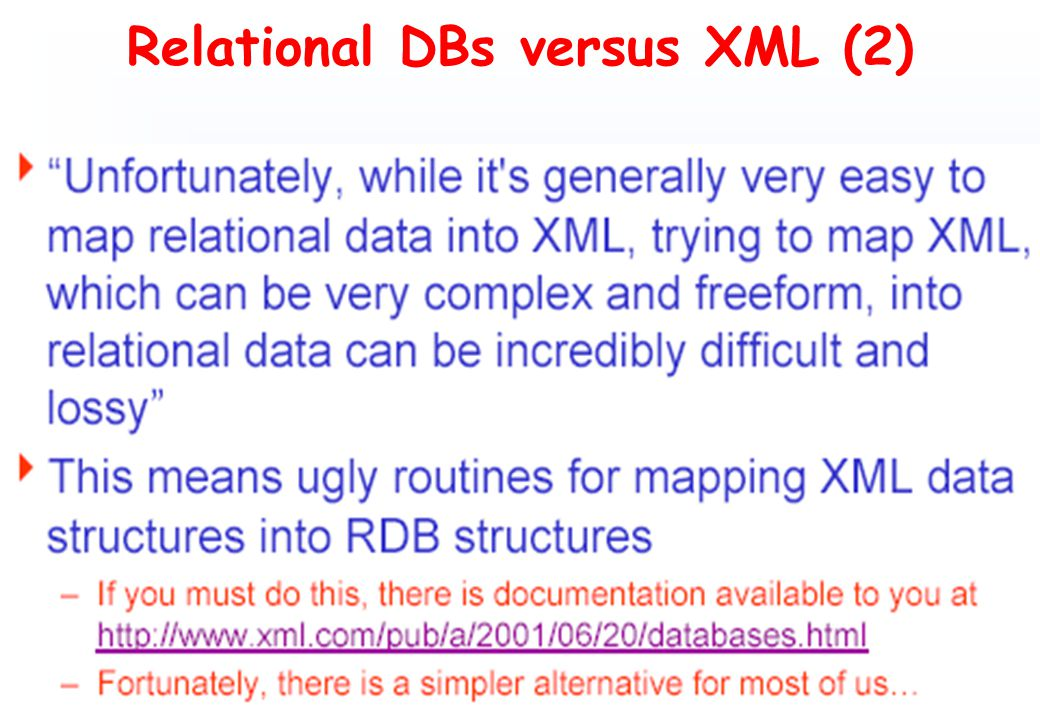 Relational DBs versus XML (2)
