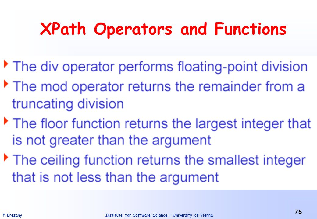 XPath Operators and Functions