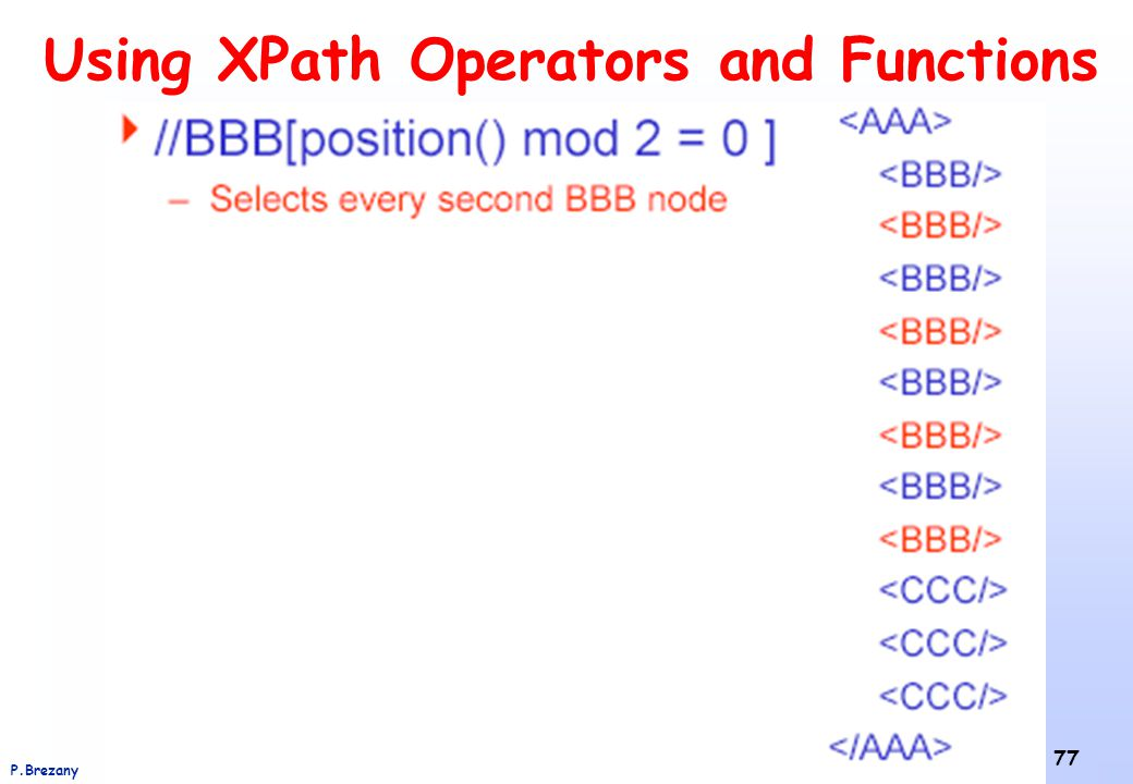 Using XPath Operators and Functions