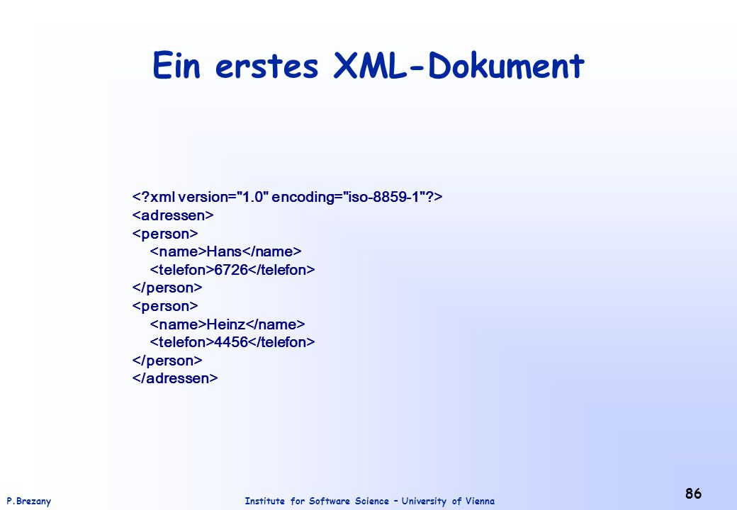 Ein erstes XML-Dokument
